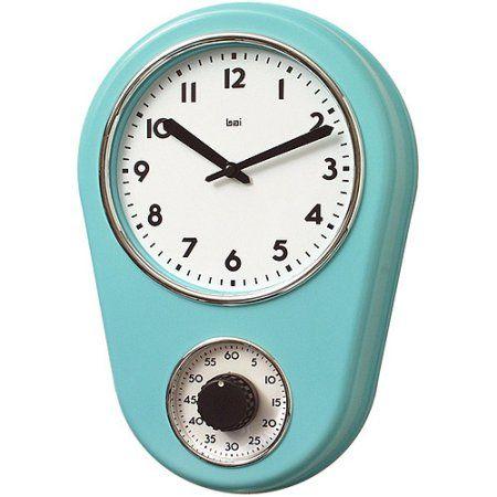 Bai Retro Kitchen Timer Wall Clock, Turquoise