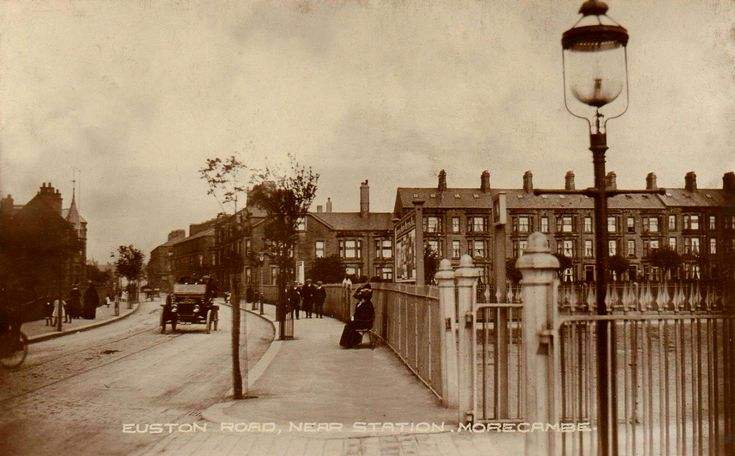 Euston Road in Morecambe.  At the site of the train station.  From a card posted in 1914.