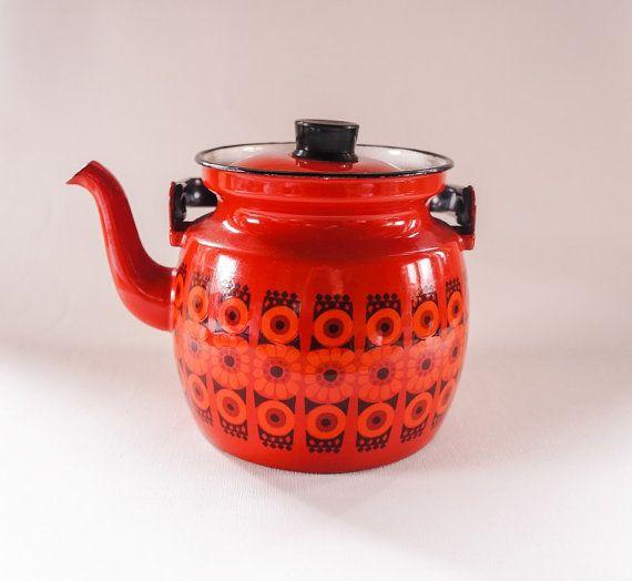 Kaj Franck Arabia Finel Enamel Red Teapot / by SwedishHeritage