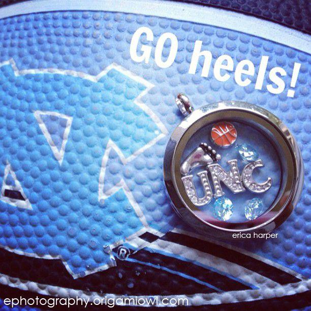 Support your Team!   Tar Heels Origami Owl Locket - UNC Locket - North Carolina Origami Owl - Basketball Locket
