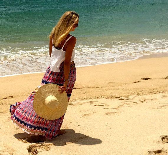 Aztec Maxi Split Skirt  High Side Splits Long Skirt by ljcdesignss