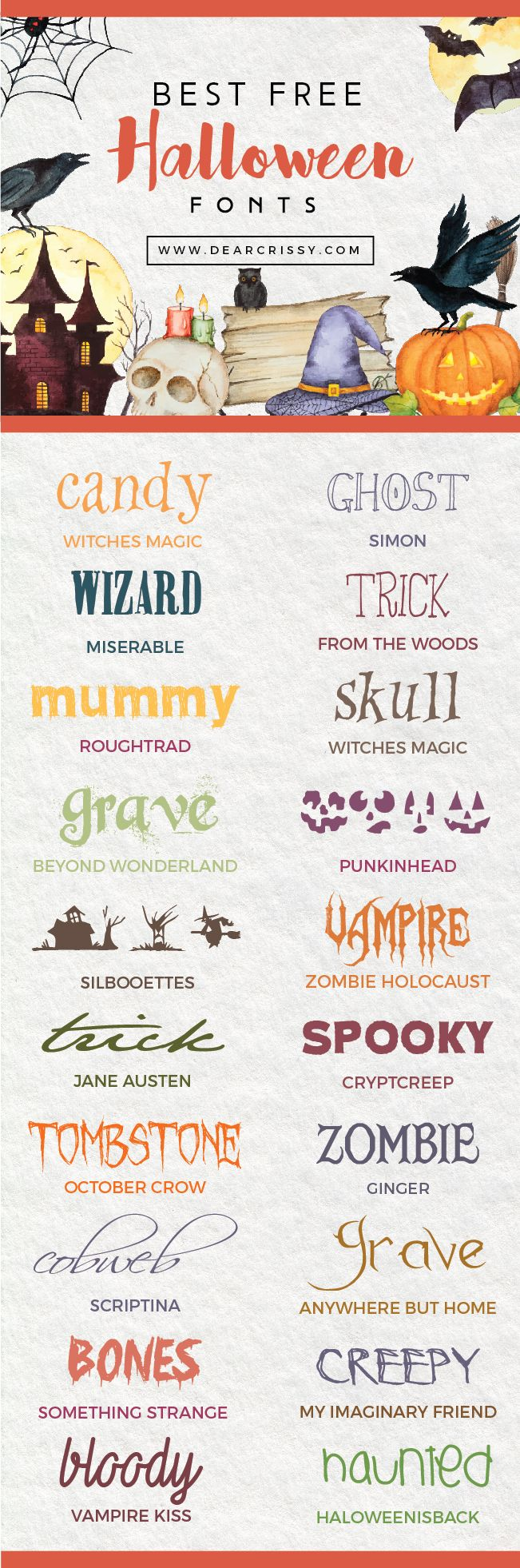 Boo! Don't miss my collection of the best free Halloween fonts. From spooky to terrifying, these free fonts are perfect for your next project.