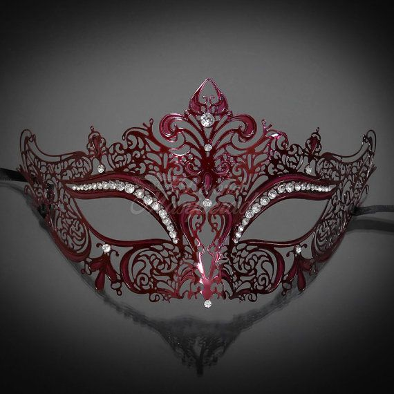 Burgundy Laser Cut Venetian Mardi Gras Masquerade by 4everstore