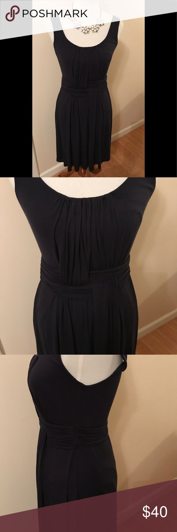 Anthropologie Bailey 44 dress This is such a great dress for that beautiful spring/summer day. Beautiful weave pattern in the front that can hide any pooch. Jersey material so easy to pack. Worn and laundered once. Hard to see but it is dark Navy (not Black). No trades. No low offers. Anthropologie Dresses