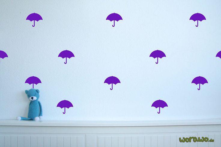 Wandtattoo - Wandtattoo Regenschirme (20 Stk. je ca.6 cm hoch) - ein Designerstück von jumeaux-design bei DaWanda