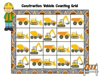 COUNTING GRIDS- COUNT BY 1'S TO 20, 30, OR 40- CONSTRUCTION VEHICLE THEME - TeachersPayTeachers.com