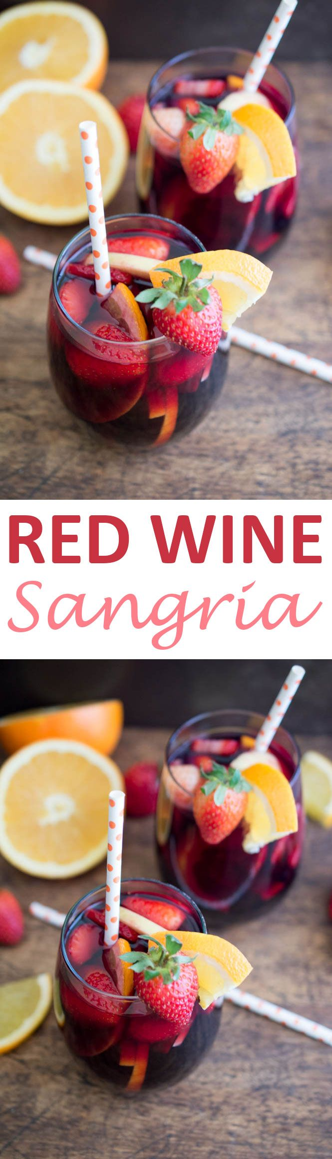 Simple and Fruity Red Wine Sangria. Made with fresh fruit, red wine, brandy and pomegranate juice. #recipe #red #wine #sangria
