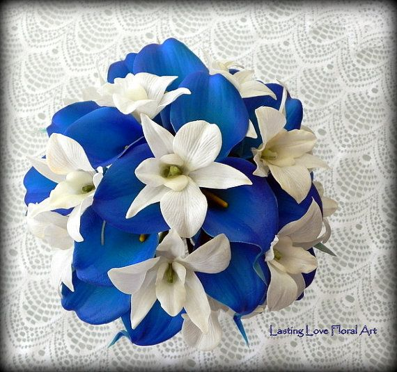 Blue Bridal Bouquet Real Touch Calla Lily by LastingLoveFloralArt