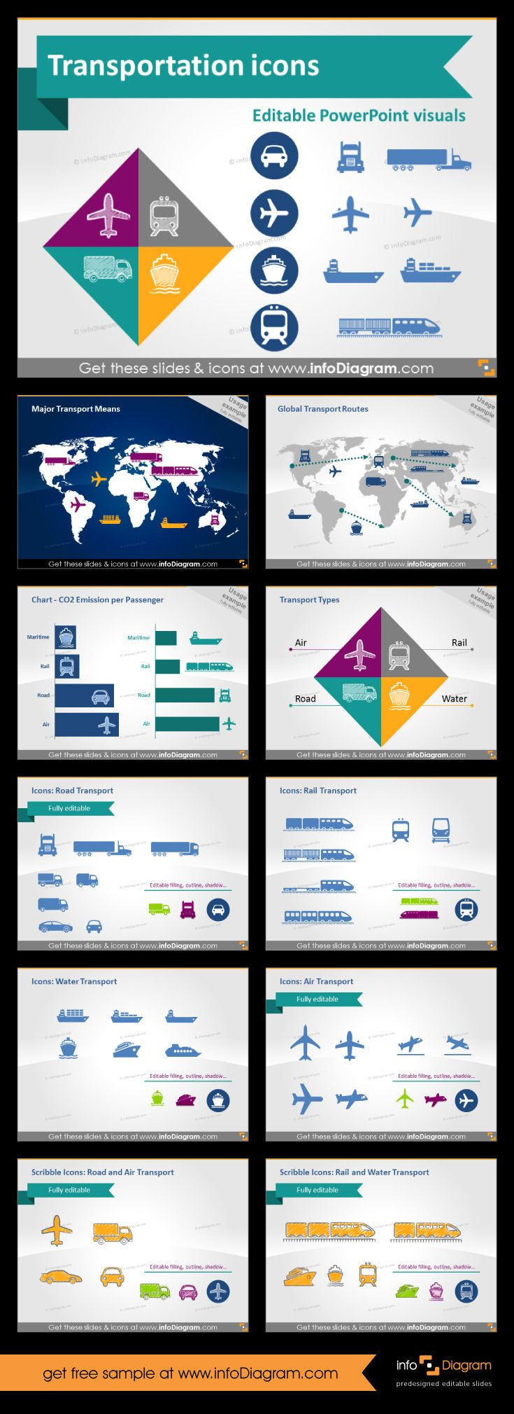#icons for #transport presentation. This template with fully editable #cliparts is must have for every #logistics professional. You can create great looking #slides within minutes. With our truck, car, train, plane and other icons. We add also fully editable world #map. #powerpoint #template #theme #logistics
