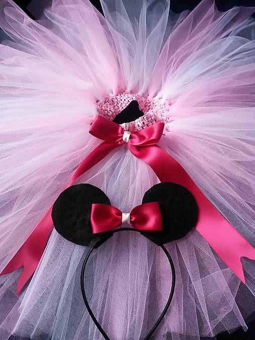 mironella / Minnie Mouse s čelenkou - tutu kostým ružový