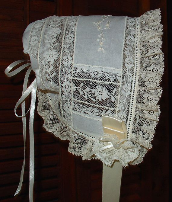 Heirloom baby  bonnet  white/ecru hand embroidery baby gift christening shower gift infant to 3 mo.