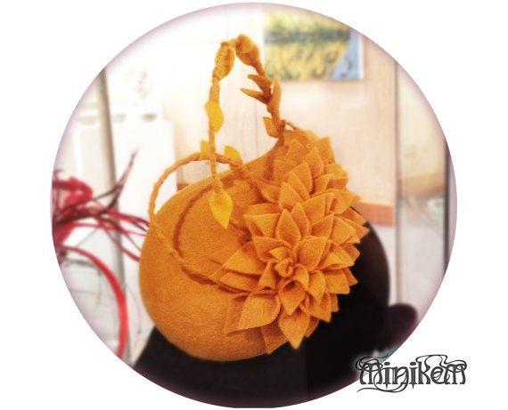 Felt Floral cocktail hat, Millinery fascinator. Mustard yellow. #Minikem, $229.00 AUD
