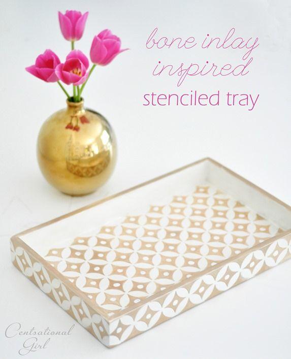bone inlay inspired stenciled tray