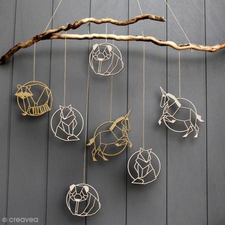 Zorro geométrico de madera para decorar - 9 cm - Fotografía n°2
