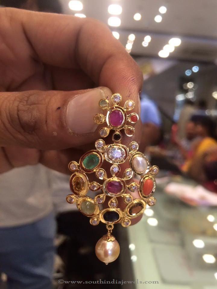 8 Gram Gold Pendant Designs, Gold Pendants in 8 Grams, Gold Navarthana Pendants.