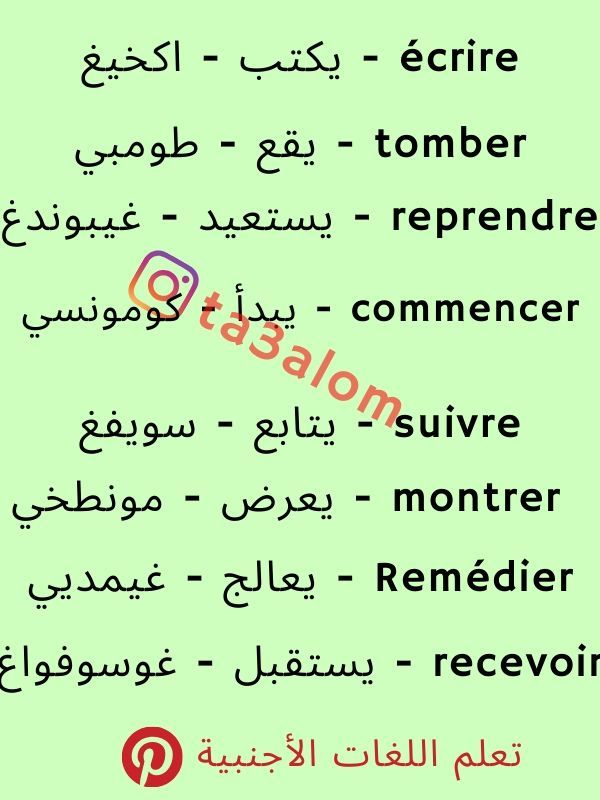 كلمات فرنسية مترجمة Learn French Learning Language