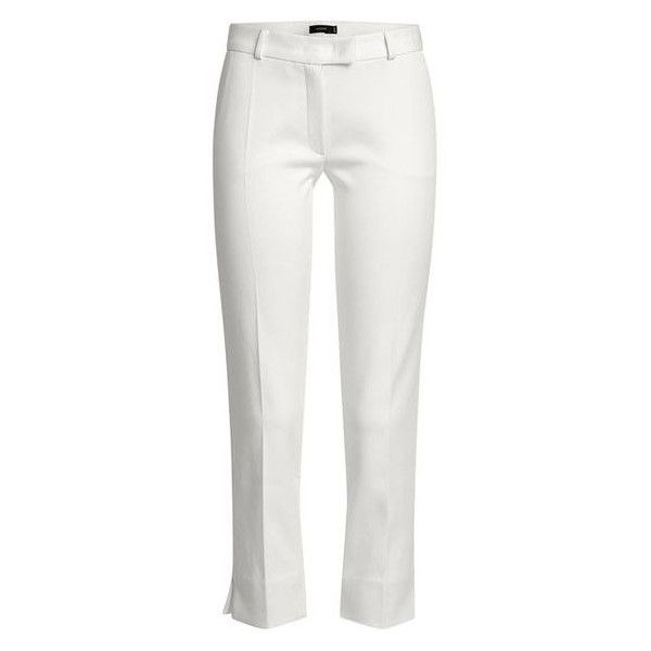Joseph Cropped Cotton Blend Trousers ❤ liked on Polyvore featuring pants, capris, white cropped trousers, cropped pants, white crop pants, cropped trousers and capri trousers