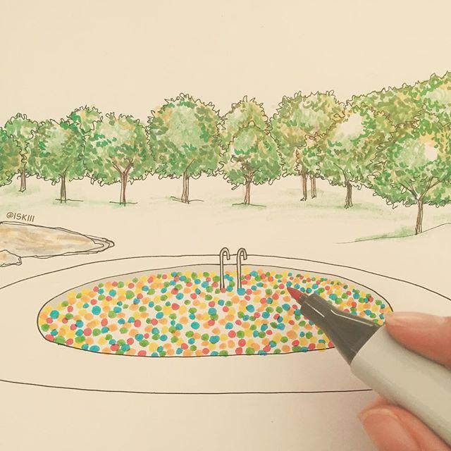 outdoor ball pit 🔴 for happy grownups ❑ art by https://www.instagram.com/iskiii/