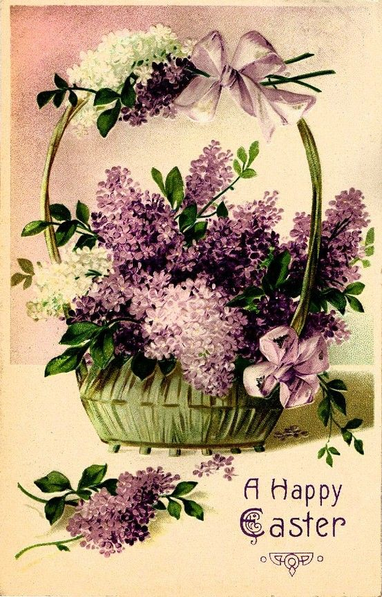 #Easter #antique #postcard #lilac (another postcard sent to my grandmother Easter 1910)