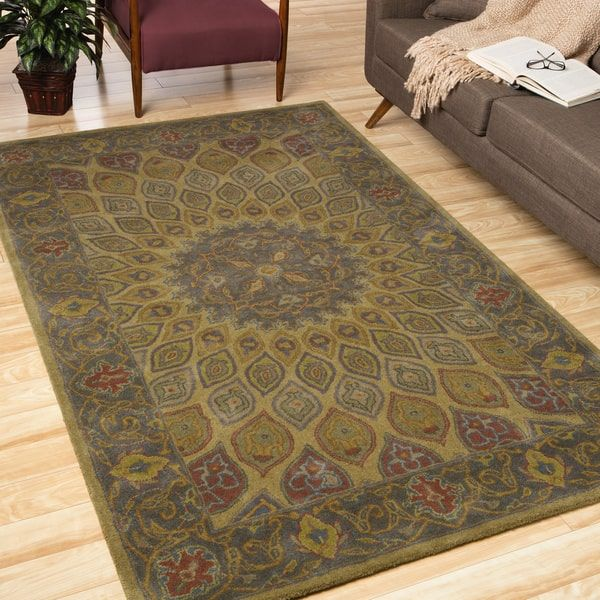 EORC Hand Tufted Wool Gold Traditional Oriental Gombad Rug 76 X 96