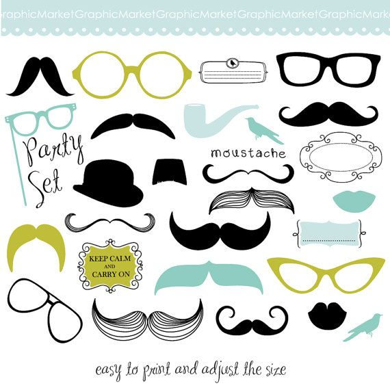 Mustache Spectacles and Lips Kiss Digital Clipart by GraphicMarket, $4.99