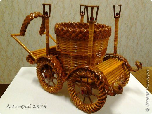 Поделка изделие День рождения Плетение Кашпо Карета Трубочки бумажные фото 1