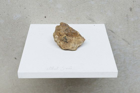 Alejandro Campins, Mont Sinaï, 2015, ink on rock, approx. 6 x 4 x 4 cm. Galleria Continua Les Moulins, 2015. Photo by Oak Taylor-Smith