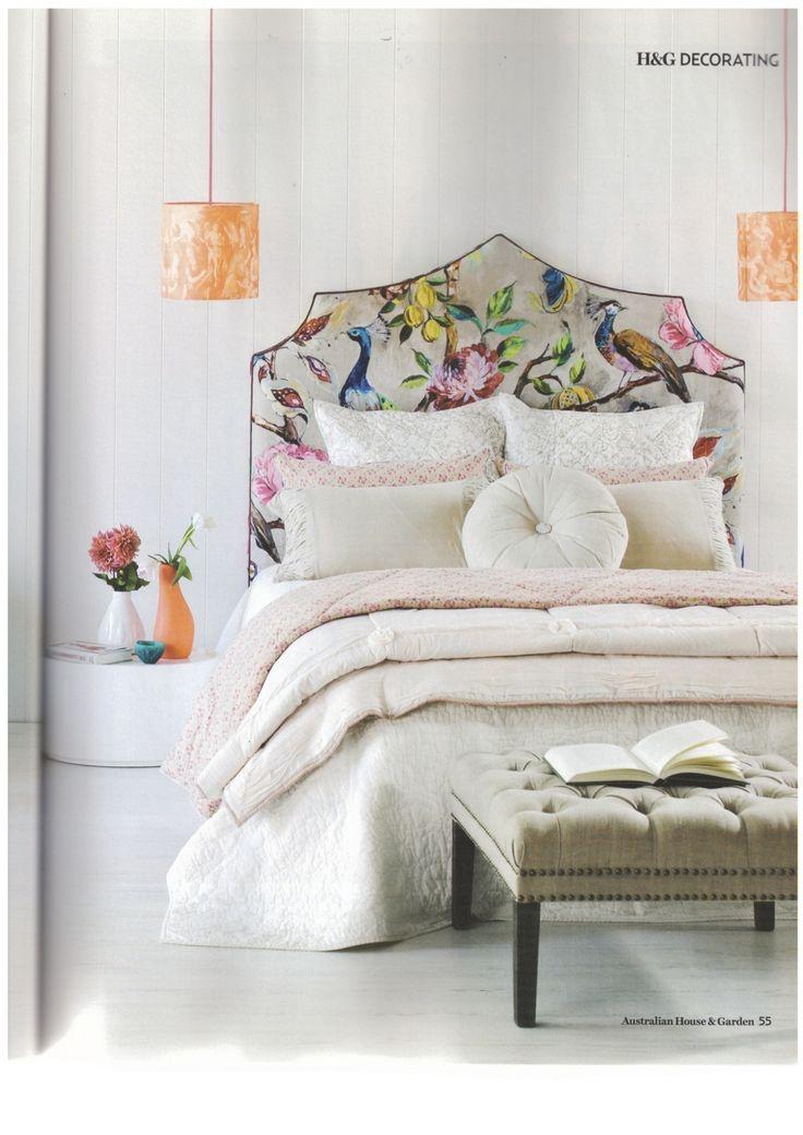 Beautiful chinoiserie upholstered bedhead
