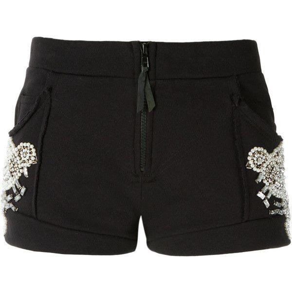 Andrea Bogosian Embellished Shorts ($313) ❤ liked on Polyvore featuring shorts, low rise shorts and embellished shorts