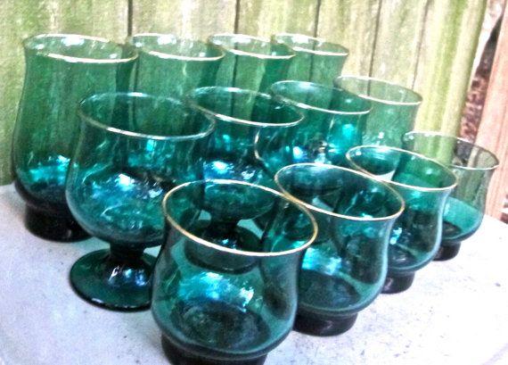 midcentury bar glasses 1950s/60s gold rimmed blue glass   by mkmack   $40.00