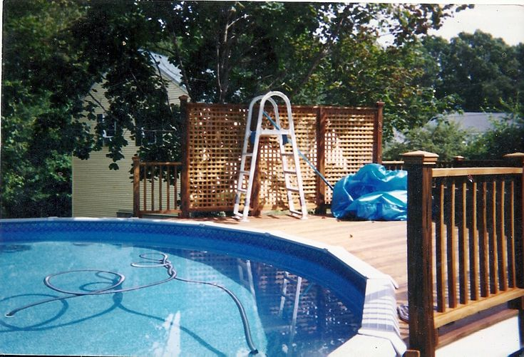 31 best images about how to build a pool deck on pinterest oval above ground pools design and - Above ground pool privacy deck ...