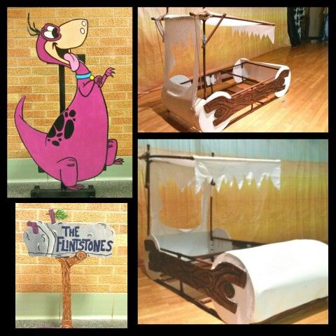 Homemade Flintstones variety show props. Dino-painted wood, mailbox- painted foam board, and car- pvc pipe & connectors spray painted, white cut out sheet, and poster board for the wheels.
