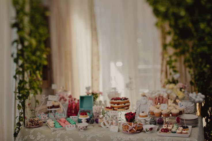 The sweet table. Candy. Cap cake
