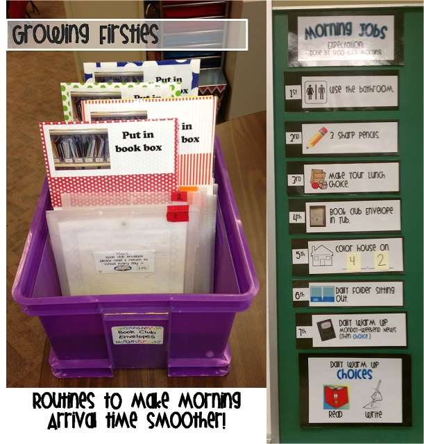 Morning Routines that make life easier...Guided Reading Tub & Morning Job List