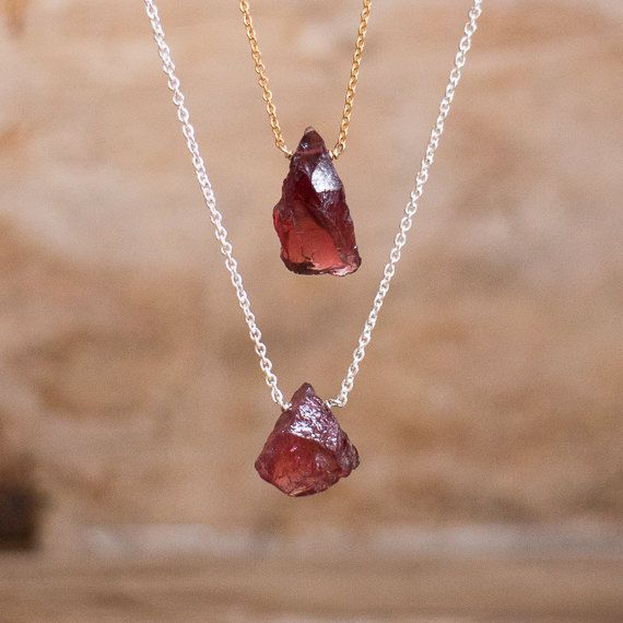 Rough Garnet Necklace in Silver or Gold, January Birthstone, Raw Garnet Necklace, Red Garnet Jewellery, Garnet Jewelry, Raw Crystal Necklace