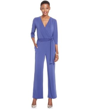 Ny Collection Petite Belted Jumpsuit - Blue P/XS
