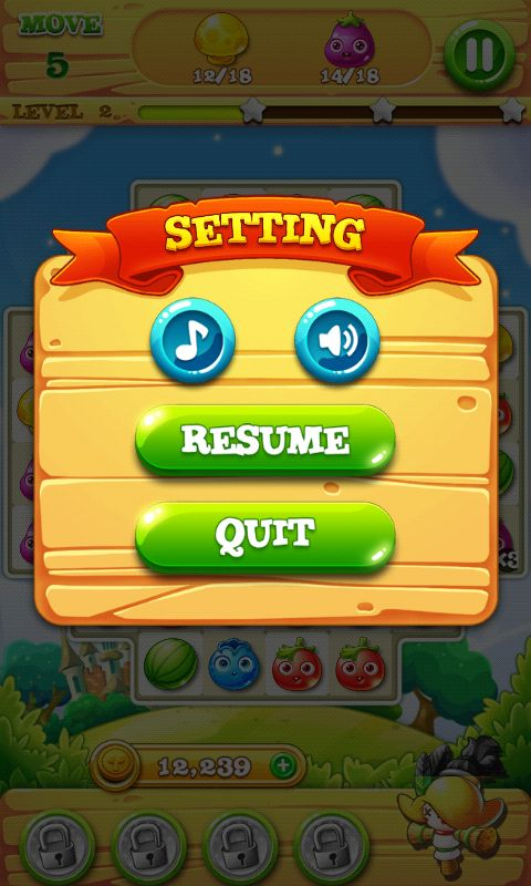 Garden Mania 2 by Ezjoy - Pause Screen - Match 3 Game - iOS Game - Android Game - UI - Game Interface - Game HUD - Game Art