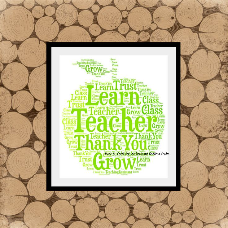 Teacher Gift Personalised Apple Print, Apple Word Art, Apple Word Collage, Apple Word Cloud, Teacher Thank You Gift, Teaching Assistant Gift by DomesticGoddessCraft on Etsy https://www.etsy.com/uk/listing/227233062/teacher-gift-personalised-apple-print
