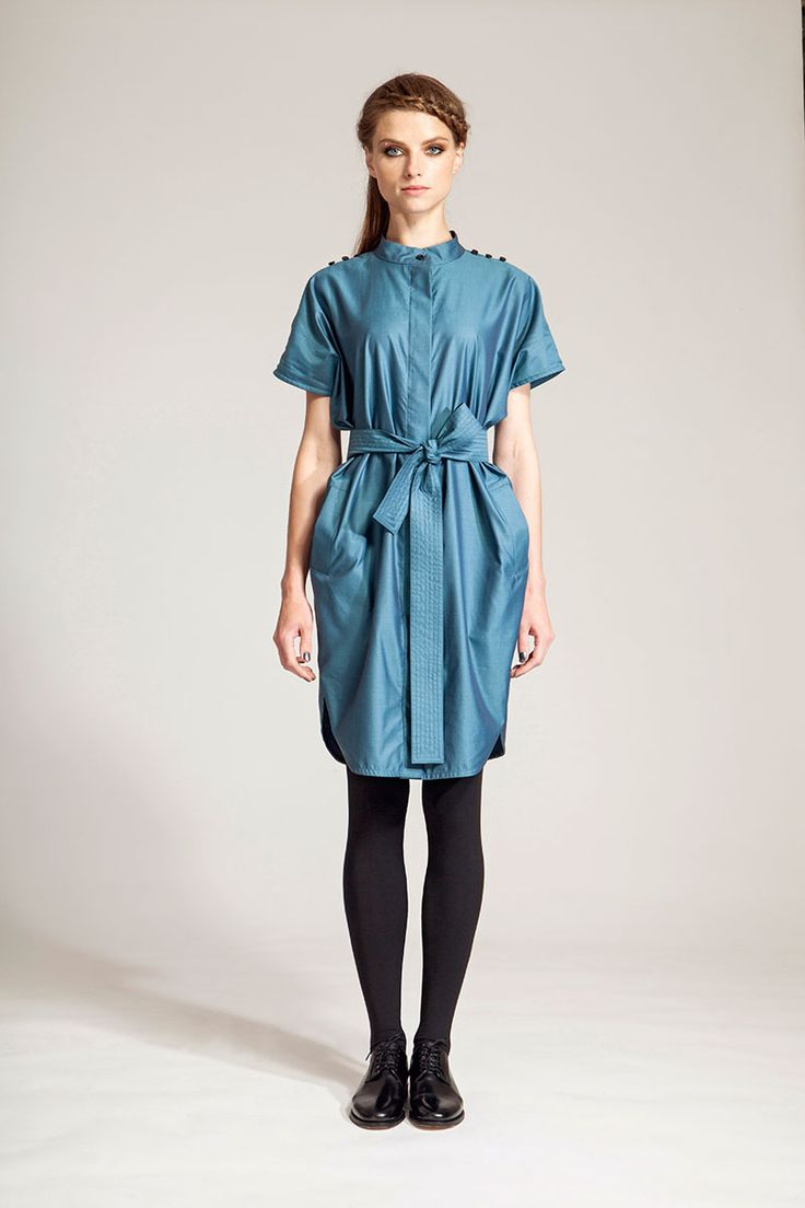 IMRECZEOVA FW16 petroleum shirt dress