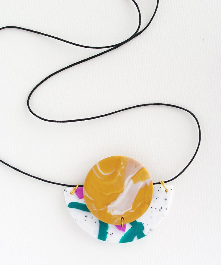 Circle & Half Moon Statement Polymer Clay Necklace - gold, white, green and magenta by colourwork on Etsy