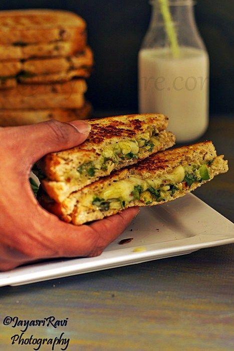 Avocado spring onion grilled sandwich