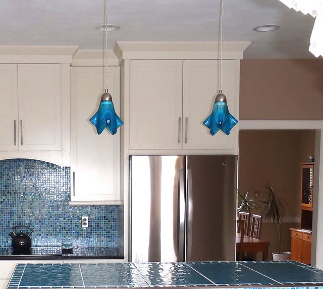 Blue Pendant Light Part - 42: One Of A Kind Art Glass Pendant Lights By Uneek Glass Fusions. Modern  Hanging Pendant Lights Over Kitchen Island.