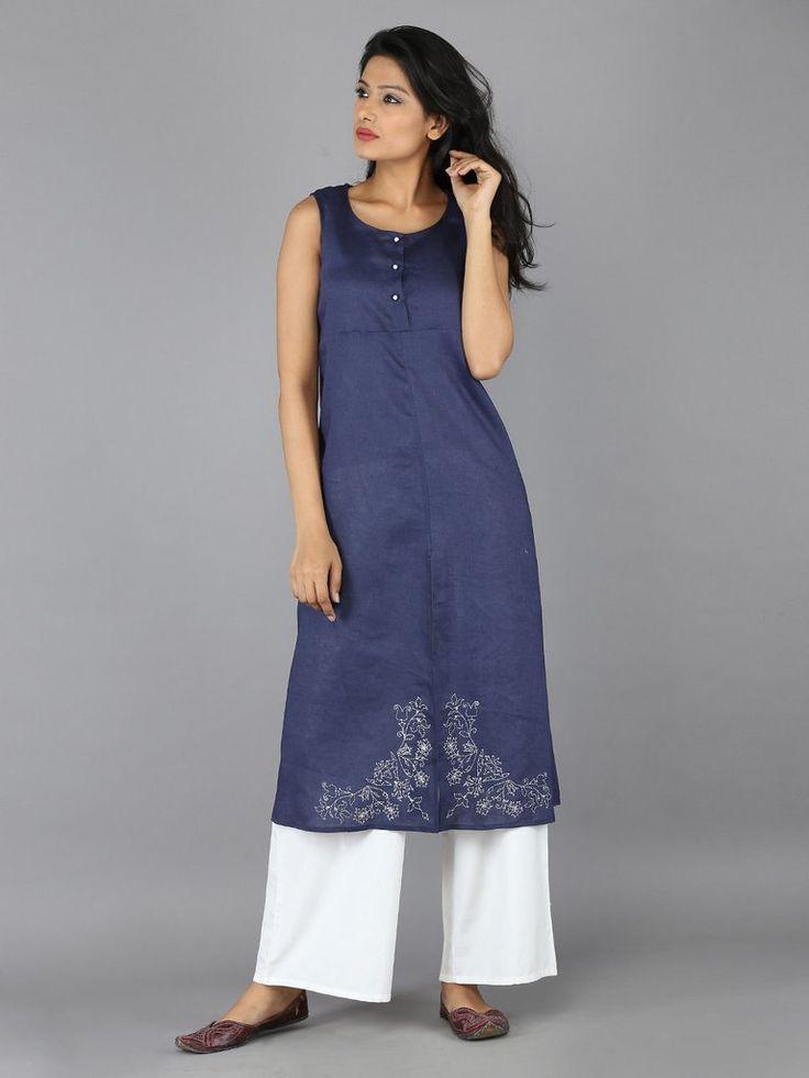 Navy Blue Linen  Embroidered Kurta