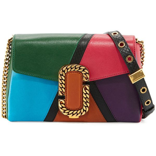 Marc Jacobs St. Marc Colorblock Clutch Bag featuring polyvore, women's fashion, bags, handbags, clutches, green pattern, colorblock handbags, marc jacobs purse, clasp purse, colorblock purse and chain handbags