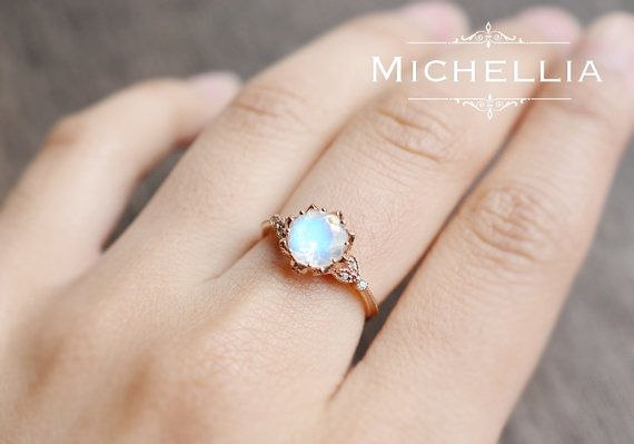 Vintage Moonstone Floral Engagement Ring in by MichelliaDesigns This one is a winner too. Real stone with the option of white gold!