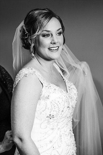beautiful bride in black and white film