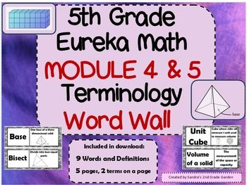 Display math terminology word walls to give your students a place of reference. Nine new terms from Eureka Math / Engage NY Modules 4 and 5.Students will retain the terms as they will see them daily.