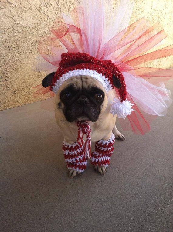 Christmas CostumeSantaHatSparkle TutuCandycane by PugsNGiggles, $30.00
