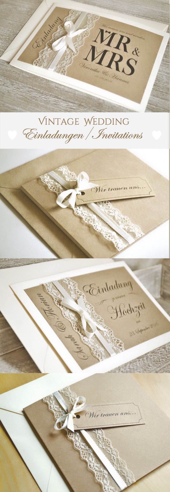 Wedding Invitation cards Mr & Mrs-with Lace and kraft paper Vintage/boho