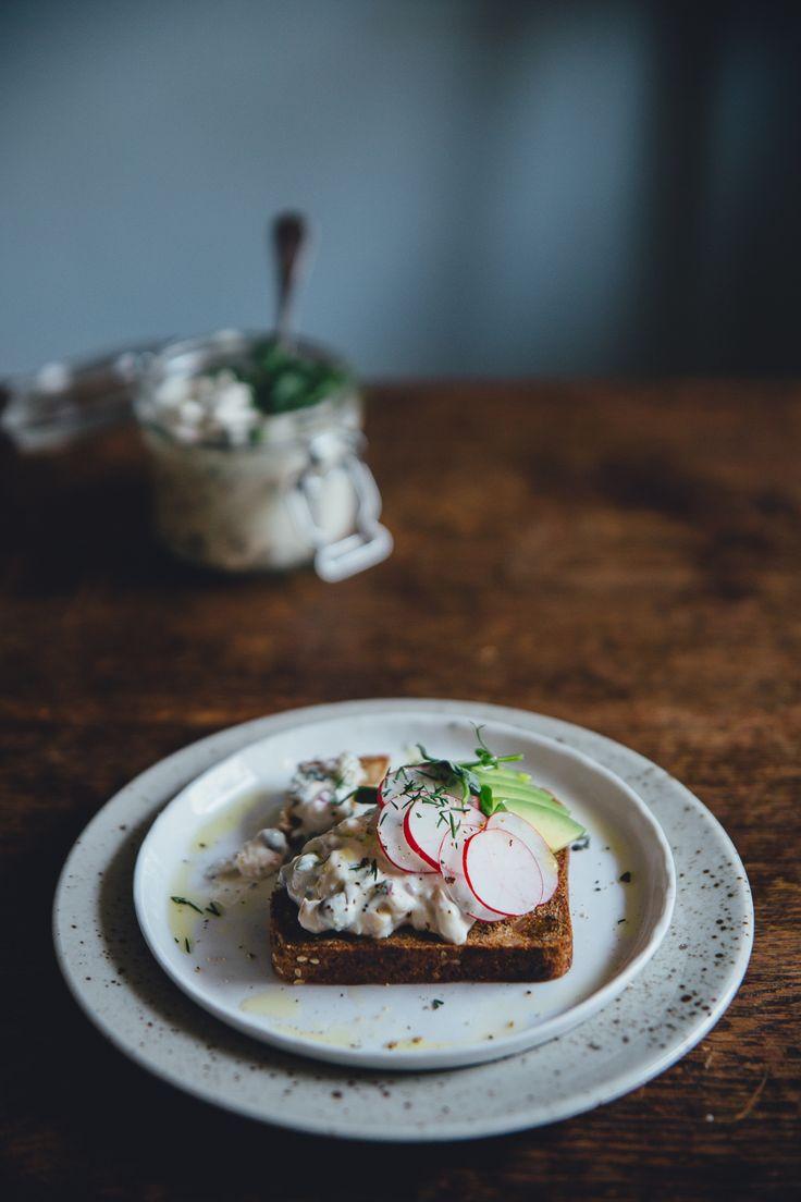 Vegan Swedish Gubbröra | Cashew Kitchenan Swedish Gubbröra on Savory Waffles | Cashew Kitchen